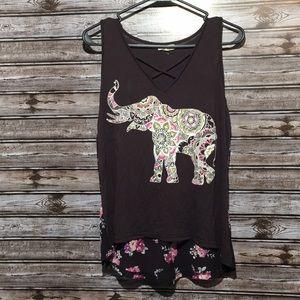 About a girl black floral mandala elephant tank
